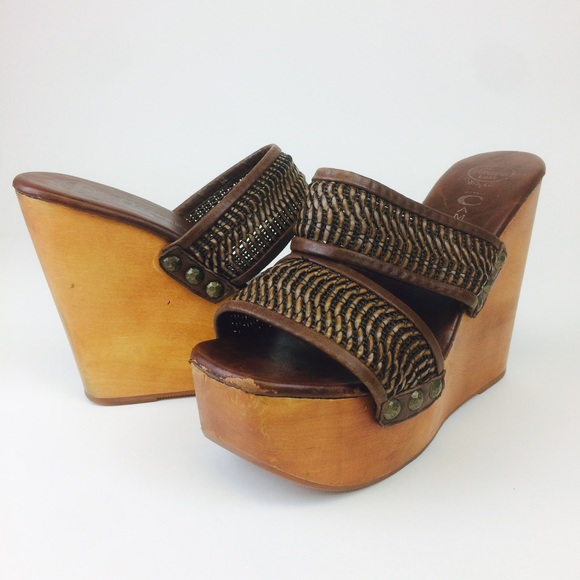 5aab572cac0 Jeffrey Campbell Shoes - Jeffrey Campbell Havana Brown Woven Wedge Slip Ons